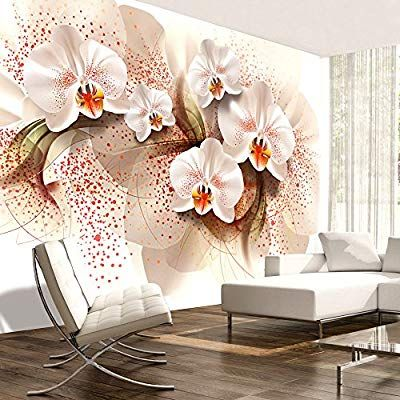 Murando Papier Peint Intisse 400x280 Cm Trompe L Oeil Tableaux Muraux Deco Xxl Fleurs Orchidee Abstracti Tapete Blumen Abstrakte Tapete Wandtapete