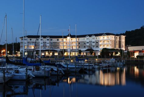 The stunning Watkins Glen Harbor Hotel on the waterfront in Watkins Glen, NY