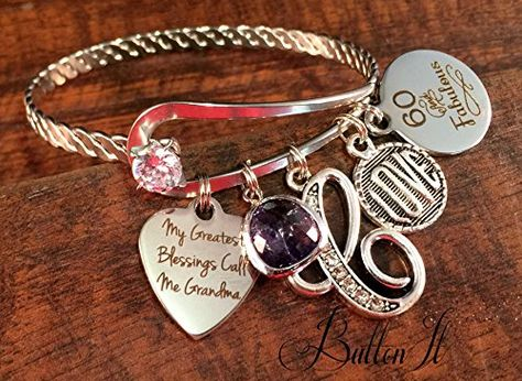 Birthstone 60th Birthday Gift Gifts For HER 50th Grandma Bracelet Charm See This Great