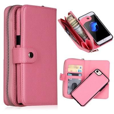 New for iPhone X 8 7 6 6S 8 Plus Wallet PU Zipper Bag Purse Case for