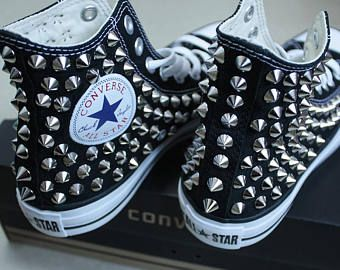 Genuine CONVERSE Black with studs & chains All star Chuck
