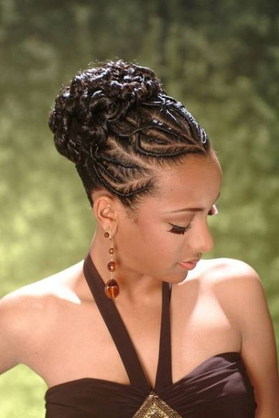 Back Braids For African American Wedding Hairstyle Braided Hairstyles Updo Natural Hair Styles Hair Styles