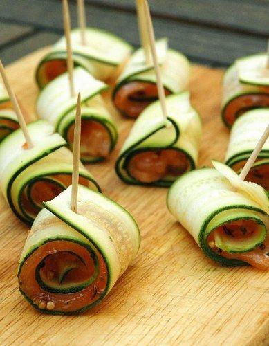 Apéritif : des recettes d'apéritif pour prendre l'apéro. Roulés de courgettes & saumon fumé (L) Super simple !