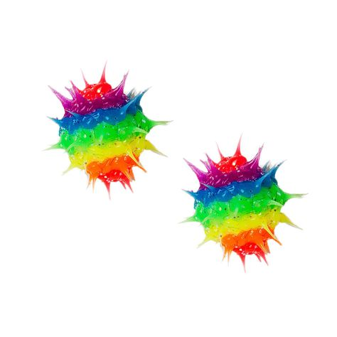 Give your colorful style an edgy vibe and a hint of sparkle with these stud earrings. Rubber rainbow rave balls are sprinkled with glitter and are set on sterling silver.