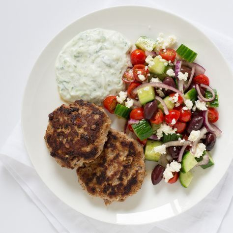 Greek Turkey Burger Patties with Tzatziki Sauce & Greek Salad (mealime) #salad #greek #salad