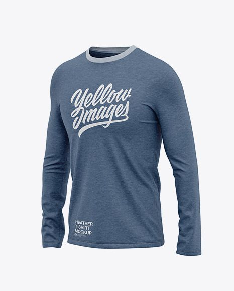 Download Men S Heather Long Sleeve T Shirt Front Half Side View In Apparel Mockups On Yellow Images Object Mockups Shirt Mockup Clothing Mockup Design Mockup Free