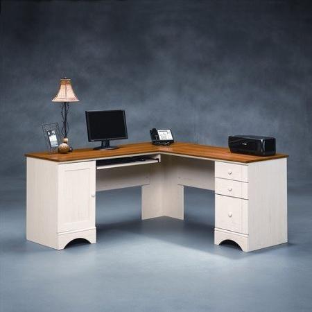 Sauder Harbor View Corner Computer Desk, Sauder Antique White Desk With Hutch