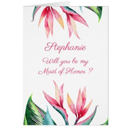 Will You Be My Maid Of Honor Bird Of Paradise Card Wedding