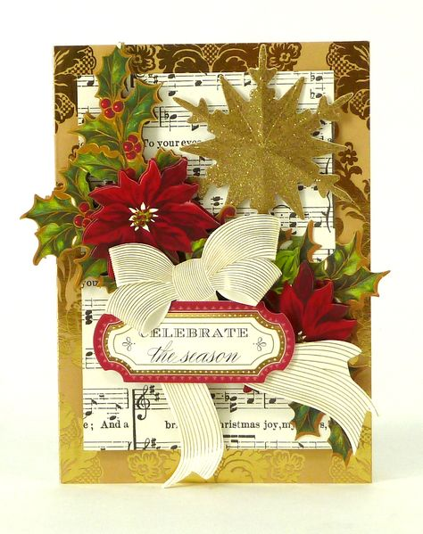 Handmade Christmas card from the Anna Griffin Holiday Trimmings Card Making Kit, featuring glitter stickers and poinsettia embellishments. This kit makes 60 unique cards with beautiful foil stamped metallic details, stunning dimensional embellishments, paper bows, ribbons and more! http://www.hsn.com/products/anna-griffin-holiday-trimmings-cardmaking-kit/7170195