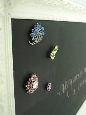 """Magnetic chalk board~ so cute and easy to make...could easily make a """"boy"""" version as well...planning to do this tommorow!"""