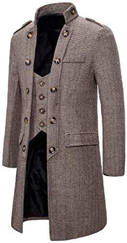 Wofupowga Men Coat Lapel Collar One Button Slim Blazer Jackets