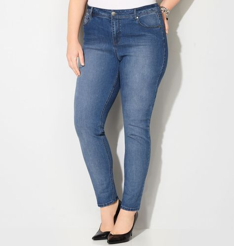 Shop denim in a classic medium wash like our plus size Virtual Stretch® Legging Jean (Med Wash) available online at avenue.com. Avenue Store