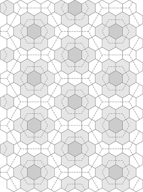 Hexagon Quilt Pattern, Hand Quilting Patterns, Patchwork Patterns, Tatting Patterns, Free Motion Quilting, Quilting Tutorials, Quilting Designs, Hexagon Quilting, Manta Crochet