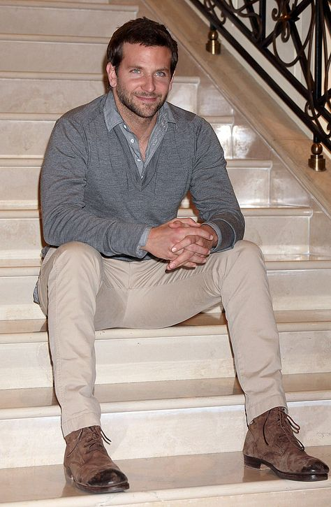 A layered look with a chambray shirt and wool sweater perfect for the Fall.