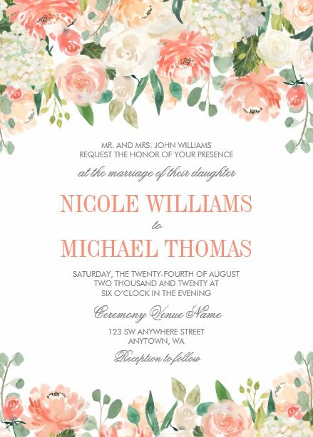 Pastel Watercolor Flowers Wedding Invitations With Images