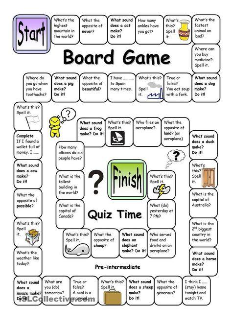 Board Game - Quiz Time (Pre-intermediate)- geek_esl_teacherette Miss Red #Board #boardgame #b...