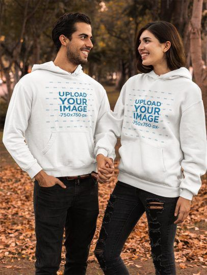Download Placeit Pullover Hoodie Mockup Featuring A Couple By Brown Leaves Hooded Sweatshirts Sweatshirts Hoodie Mockup
