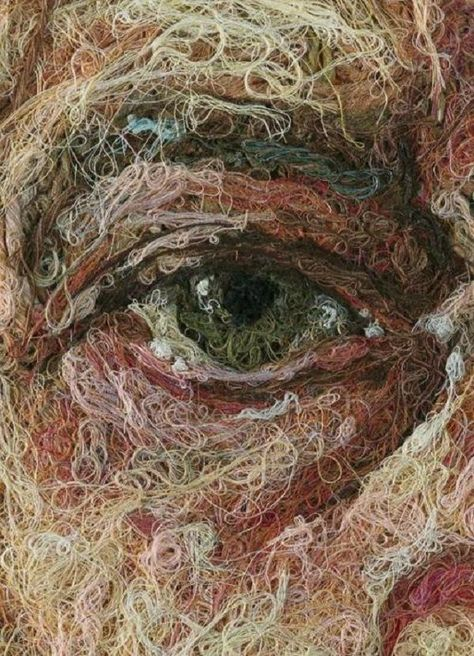 String Art By Casey Zavaglia 'Darbi' - cotton, silk and wool thread on linen by Cayce Zavaglia.