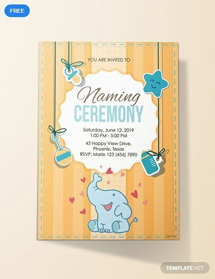Free Elegant Naming Ceremony Invitation