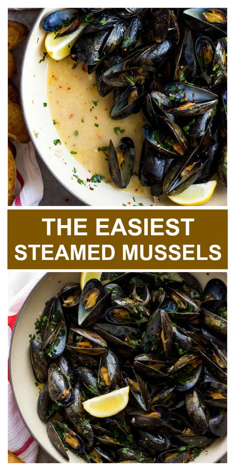 Easy steamed mussels recipe with garlic and parsley. Garlic Recipes, Fish Recipes, Seafood Recipes, Dinner Recipes, Cooking Recipes, Healthy Recipes, Mussel Recipes, Chowder Recipes, Holiday Recipes