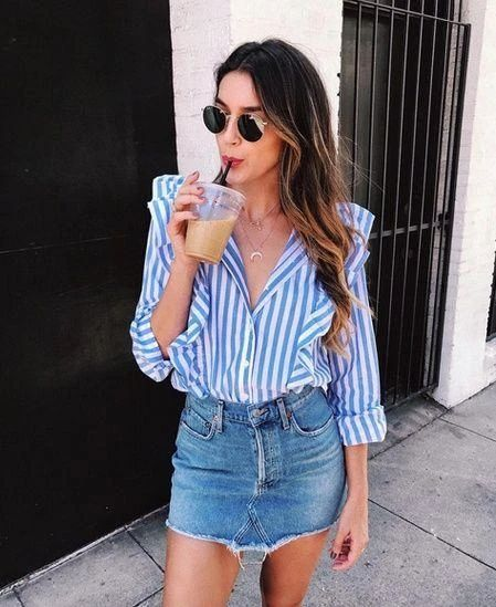 10 outfits with miniskirts that will make you look beautiful without seeing you vulgar Denim skirt +