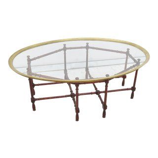 Vintage Brass Glass Top Tray With Bamboo Base Coffee Table Chairish Coffee Table Table Furniture