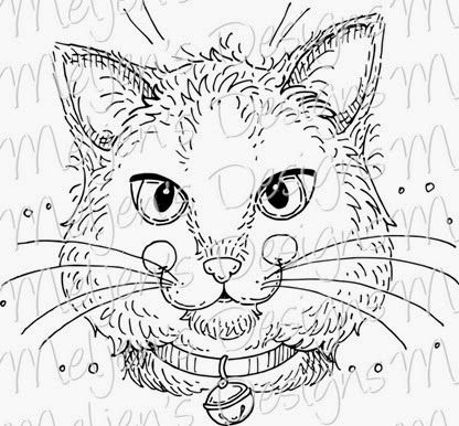 NEW! Meljens Designs Pretty Kitty digital stamp & crafting ideas for this cutie!