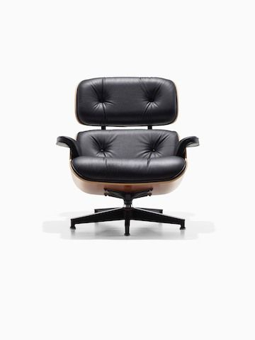 Black Leather Eames Lounge Chair Viewed From The Front Eames Lounge Chair Lounge Chair Chair And Ottoman