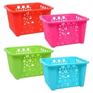 Bright Plastic Storage Baskets With Polka Dot Holes Storage