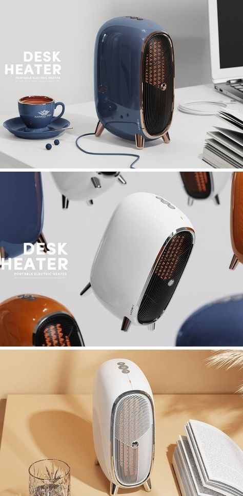 This retro desk heater takes on a cylindrical shape and glossy finish to fit into and warm up any ho