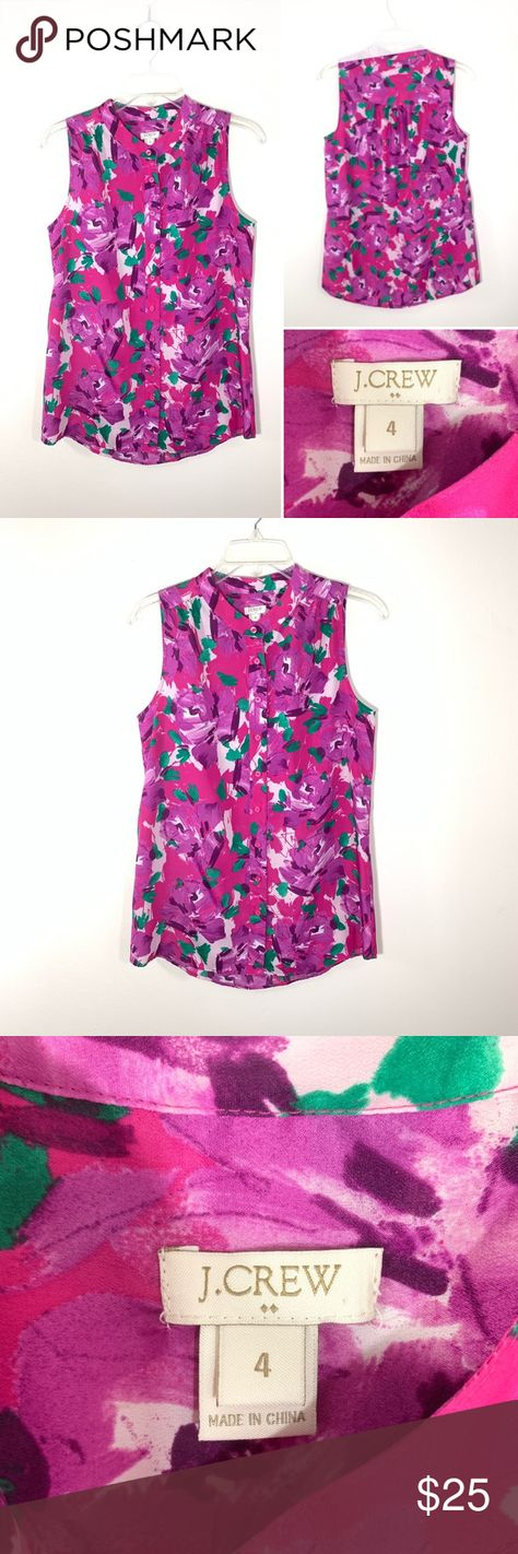 J.Crew top    Size 4 J.Crew multicolor sleeveless top. Size 4. Round hemline. Color- fuchsia, purple, green, white.  Pre-owned in excellent condition. No stains, holes or pull fabric.  Measurements  Shoulder-2.5 inch Chest-18.5 inch From shoulder to hem-28 inch  Thank you for visiting my posh closet. If you have any questions don't hesitate to contact me. Happy poshing ! J. Crew Tops Blouses