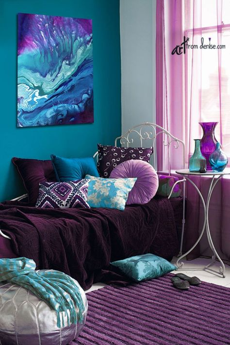 Blue Bedroom Decor, Bedroom Turquoise, Bedroom Colors, Large Bedroom, Purple Bedroom Design, Purple Teal Bedroom, Purple Bedroom Walls, Teal Bedrooms, Purple Living Rooms