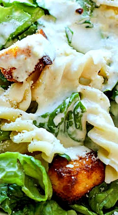 Fusilli Caesar Pasta Salad - The best caesar salad ever with a secret ingredient – Hawaiian bread croutons! The croutons are so good, you'll want to eat all of them first before digging into the salad! ❊
