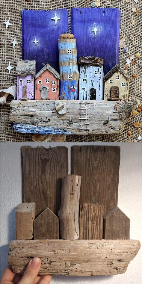 Driftwood Key Holder : Driftwood Key Holder for Wall with Wooden Houses Beach Crafts, Diy Home Crafts, Creative Crafts, Fun Crafts, Crafts For Kids, Seashell Crafts, Driftwood Projects, Driftwood Art, Creation Deco