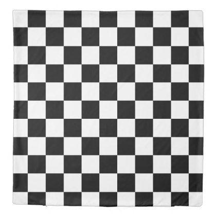 Bold Black White Checkered Pattern Reversible Duvet Cover Zazzle Com Reversible Duvet Covers Checkered Pattern Bold Black