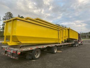 Custom Built Safety Yellow Dumpsters Built For Mooney Container Service Tallahassee Fl Cedar Manufacturing In 2020 Dumpsters Tallahassee Fl Custom Build