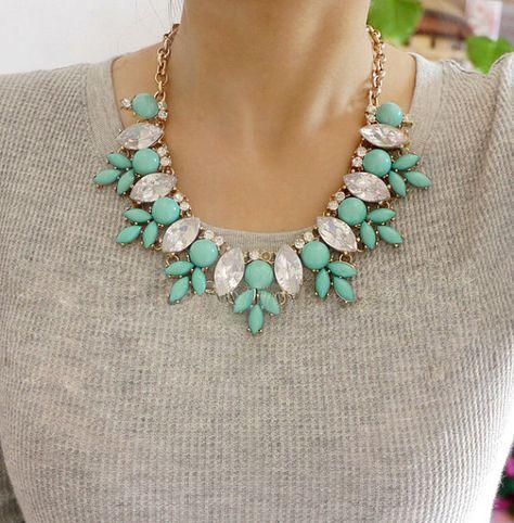 Rhinestone Crystal Necklace Green Bubble Bib by Emilybeauty, $13.99