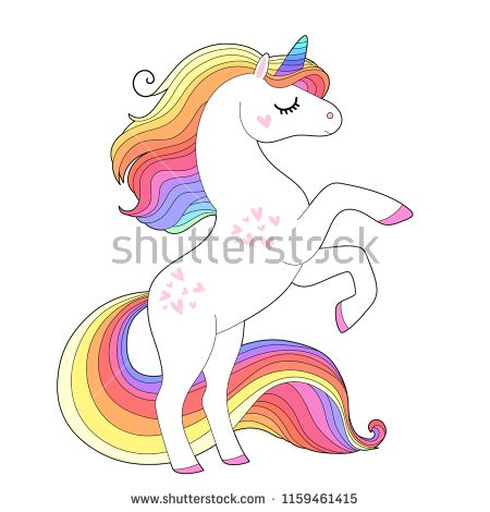 White Unicorn With Rainbow Hair Cute Pony Character Isolated On