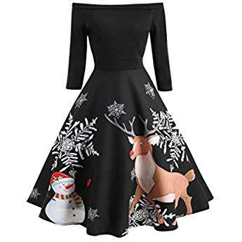 Llongao Weihnachten Frauen Schulterfrei Drucken Vintage Abendgesellschaft Kleid Flare Kleid Kleider Damen Party Kleider Partykleid