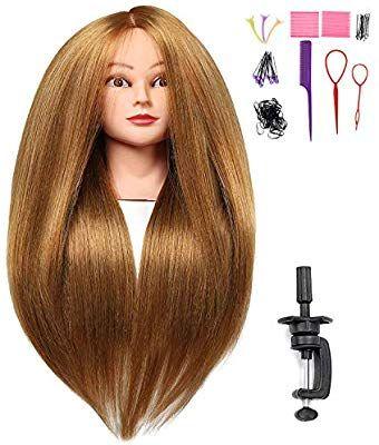 Amazon Com Silky 26 28 Long Hair Mannequin Head With 60 Real Hair Hairdresser Practice Training Head Co Hair Mannequin Long Hair Styles Blonde Long Layers
