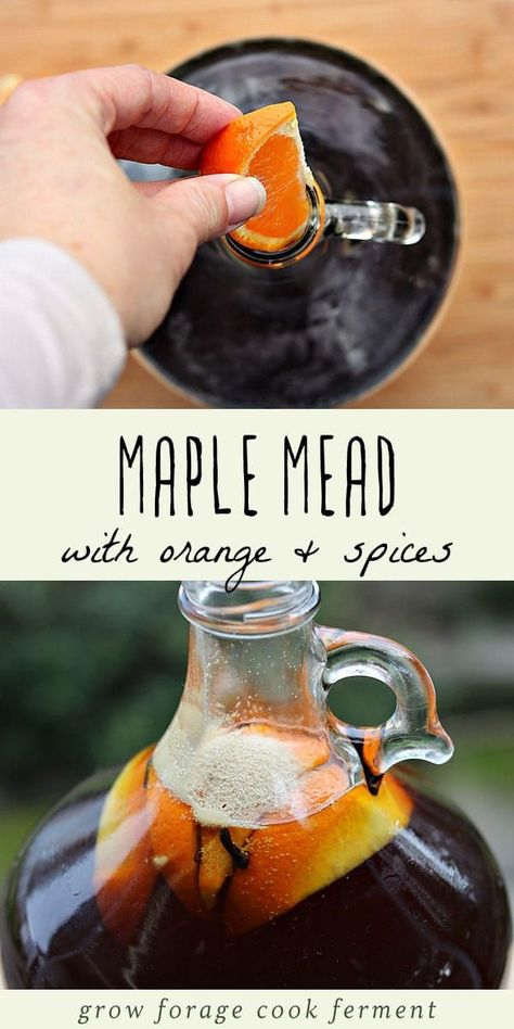 Maple mead, also called acerglyn, is made by replacing some of the honey with pure maple syrup. Here is a one gallon maple mead recipe fermented with orange and spices! Mead makers and home brewers will love this easy and delicious mead recipe! Homemade Alcohol, Homemade Liquor, Brewing Recipes, Homebrew Recipes, Mead Wine Recipes, Beer Recipes, Drink Recipes, Beltane, Mead Recipe