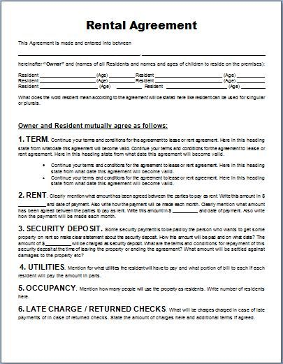 MS Word Generic Rental Agreement Form Template Word \ Excel - microsoft rental agreement template