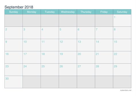 September 2018 Blank Calendar Printable Template Word September