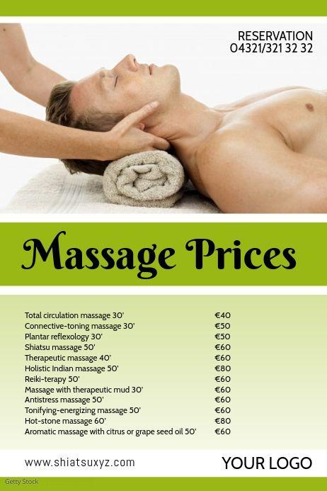 Massage Studio Price List Offer Treatments Ad Massage Studio Massage Prices Price List Template