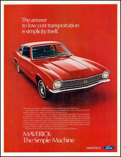 Metal Sign Vintage Look Reproduction 2 1971 Ford Maverick