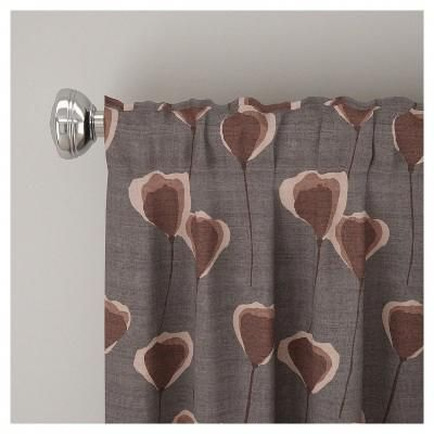 Unlined Poppy Floral Curtain Panel Taupe Brown 50 X108