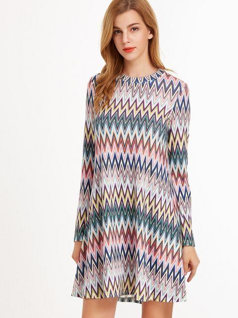 A Linie Kleid 2019 Chervron Druck Bunt Sommermode Kleider Damen Mode