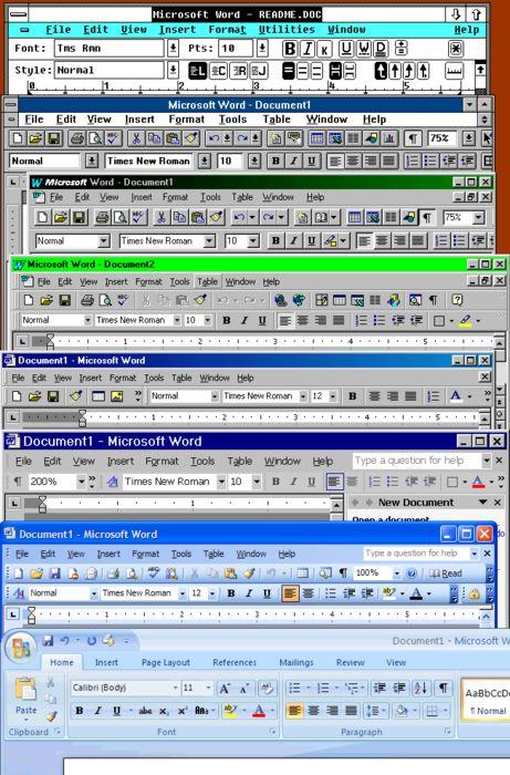 Microsoft Word Window Bar Evolution   Technology