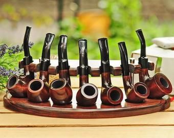 Display Stand Rack Hold for Wooden pipe Tobacco Smoking handicraft HAND MADE
