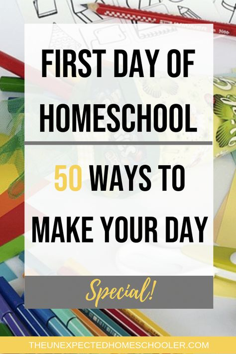 Just because the kids arent leaving the house doesnt mean the first day of homeschool shouldnt be special. Here are 50 wyas to make it special! first day of homeschool traditions Homeschool High School, Homeschool Kindergarten, Kindergarten Lessons, Elementary Schools, Preschool, Homeschooling Resources, School Resources, Homeschool Curriculum, First Day Of School Activities